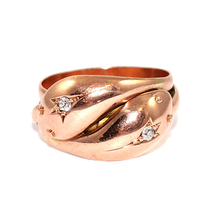 Victorian Rose Gold Double Snake Ring c.1868