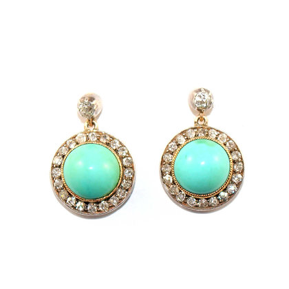 Victorian Cabochon Turquoise and Oldcut Diamond Set Cluster Drop Earrings c.1900