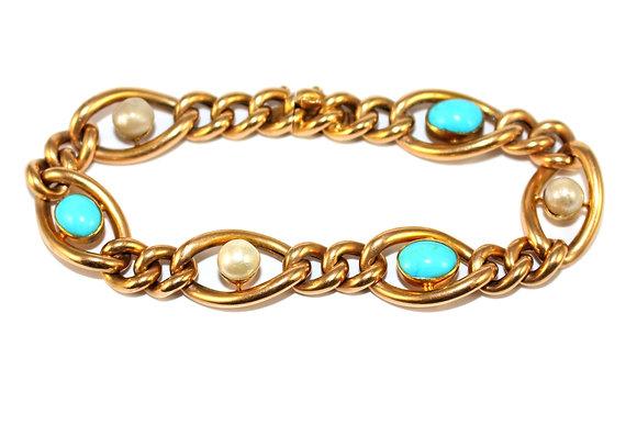Victorian Turquoise & Pearl Fancy Link Bracelet c.1900