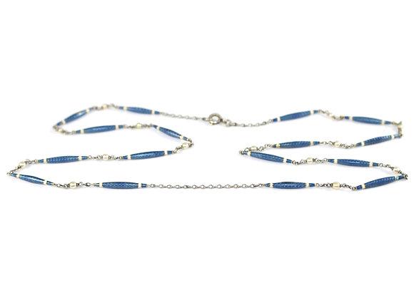 Art Deco Blue Enamel and Pearl set Fancy chain c.1920
