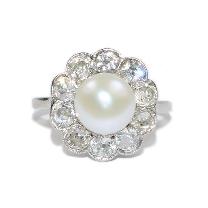Art Deco Diamond & Pearl Cluster Ring