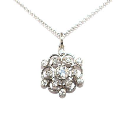 Art Deco Diamond Snowflake Pendant c.1930
