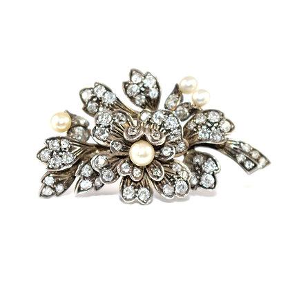Victorian Diamond Floral Brooch