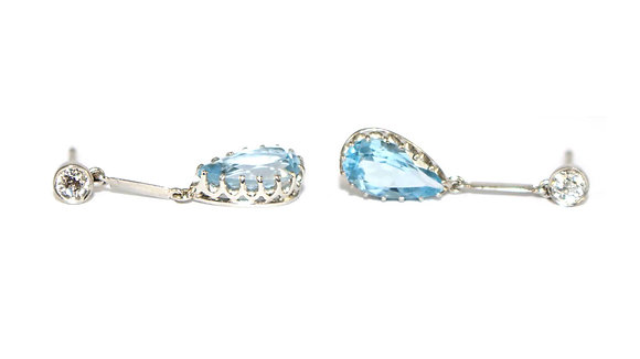 Art Deco Aquamarine & Diamond Drop Earrings