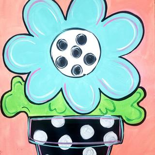 Teal Flower Pot