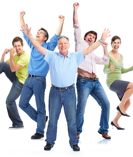 Group of happy people jumping isolated o