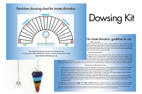 Pendulum Dowsing Kit with Chart and Instructions