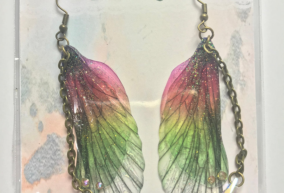 Large Rainbow Faerie Earrings With Chain In Bronze Finish