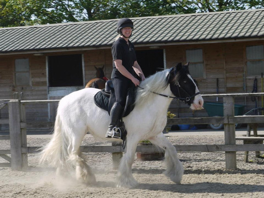 Beccy riding 5 year old rescude cob Rupert (sadly passed in 2018 due to laminitis and EDO complications)