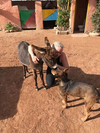 Beccy with donkey and dog
