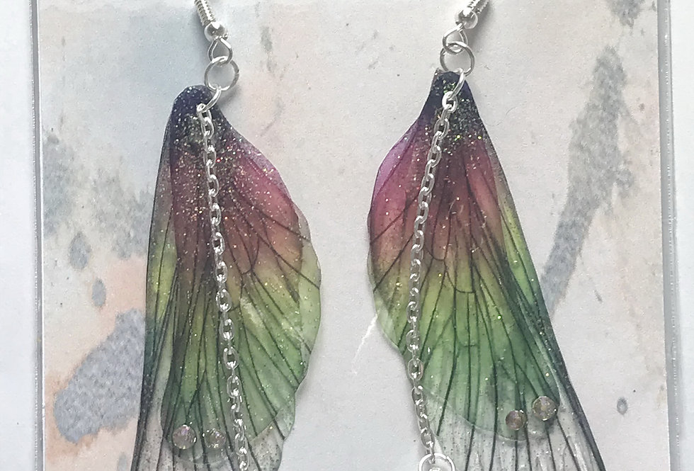 Large Rainbow Faerie Wing Earrings With Chain In Silver Finish
