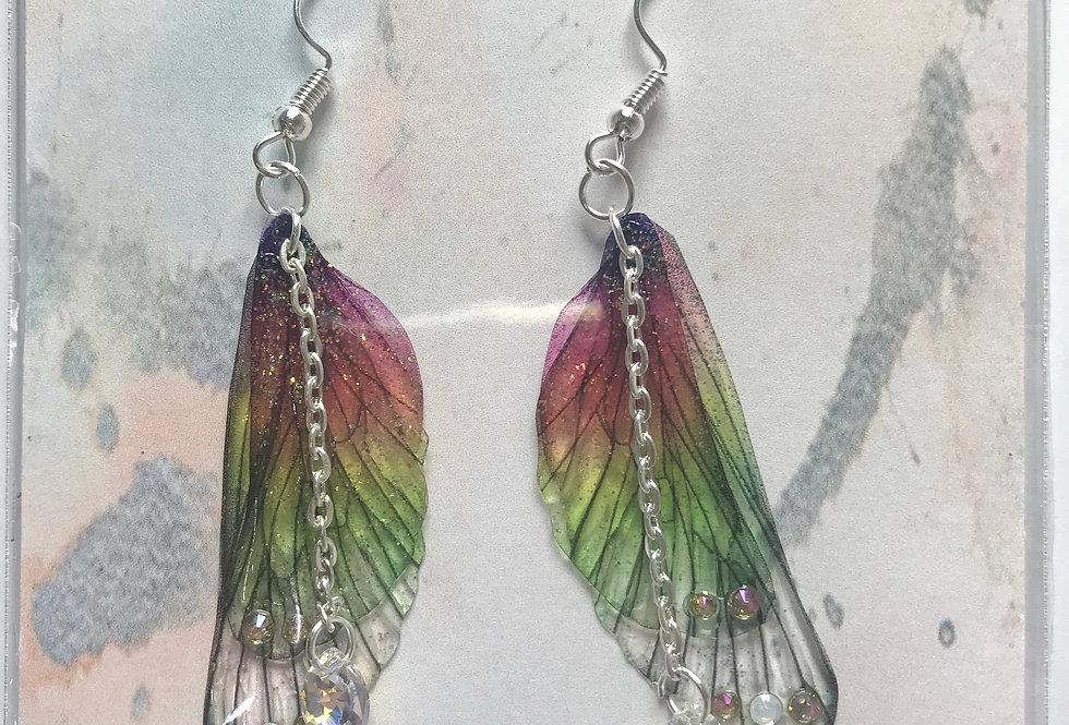 Medium Rainbow Earrings With Chain Silver Finish