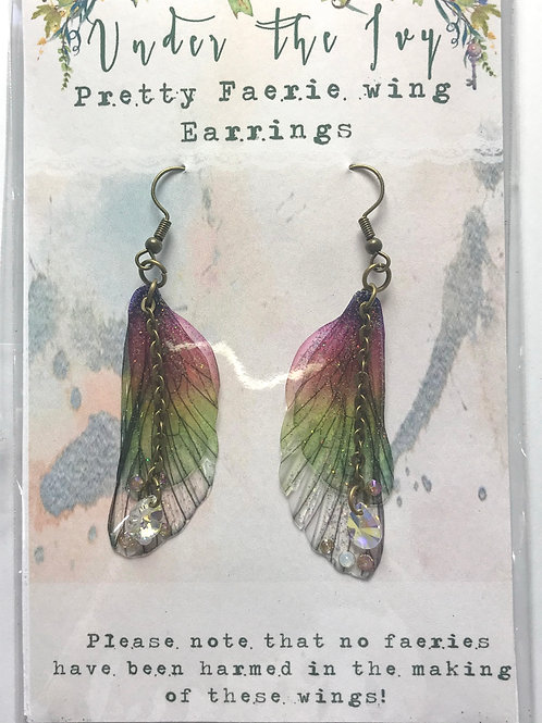 Medium Rainbow Earrings With Chain Bronze Finish