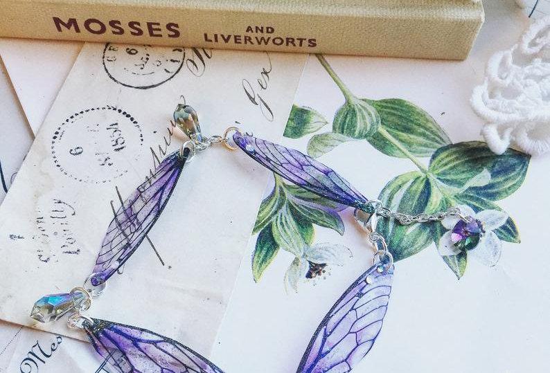 Small Purple Faerie Wing Bracelet