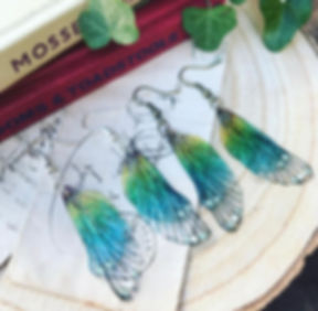 Rainbow faerie wing earrings no chain br