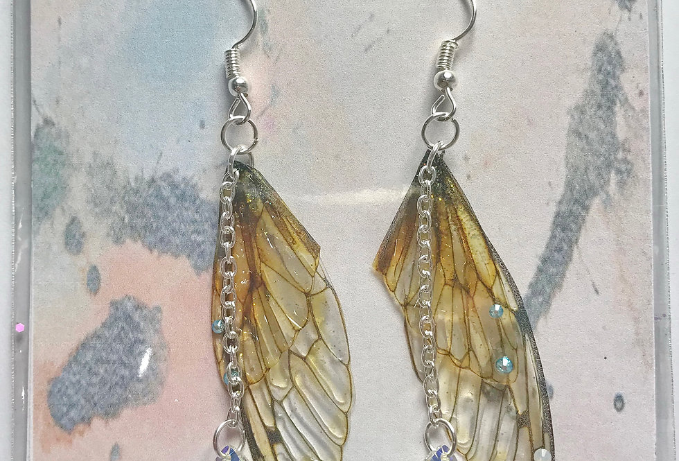 Medium Natural Earrings With Chain Silver Finish