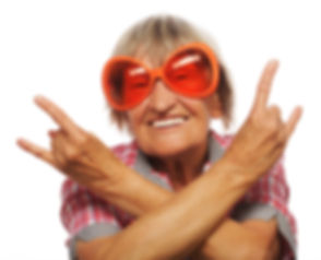 Senior woman wearing big sunglasses doin