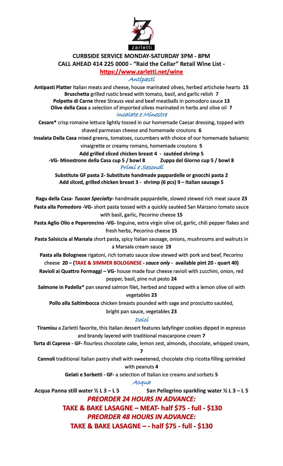 Zarletti Takeout Curbside Menu 3-5-2021.