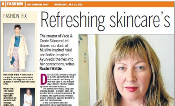The Dominion Post weekend Life magazine, halal facial serums, ayurvedic, manuka honey, face masks, buy online, NZ, auckland