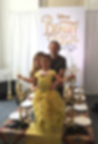 Family on Beauty & the Beast photo opportunity