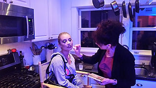 Blogger gets makeup before participating in Shut In Escape Experience