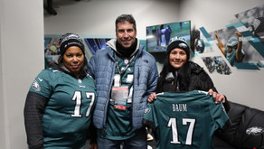 Copy of Mt. Laurel resident recently honored as a 'Santander Community Quarterback' at Eagles game
