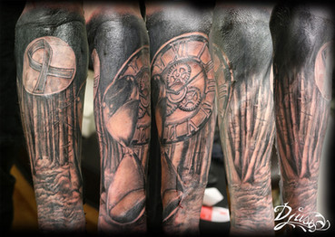 Tattoo of a Roman clock realizes and an hourglass in the dark forest under a clear moon with a ribbon of cancer.