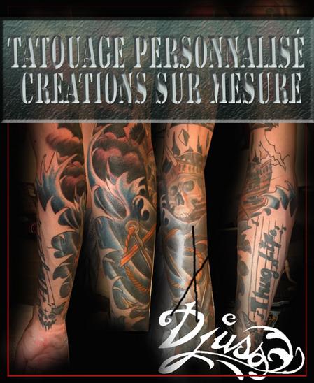 Image modèle annonce tatouage affiche tatouage manche bras homme couleur.