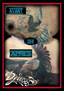 Tattoo of an eagle cover0-up with a bigger tattoo of eagle in the groin of a man.