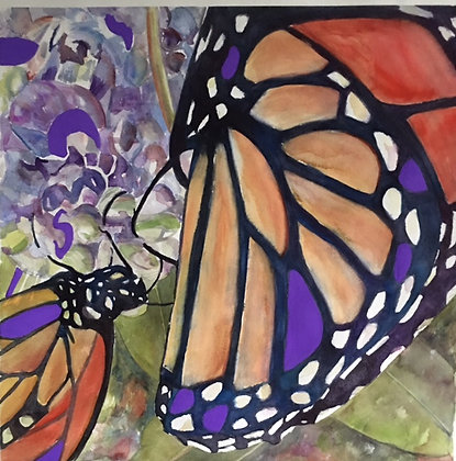 Monarch with Purple, mounted