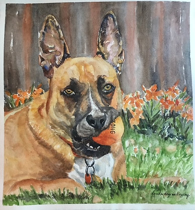 Dog with Ball- SOLD