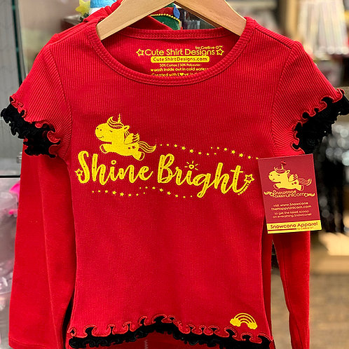 Snowcone Shine Bright Red Two-Tone Ruffled Top