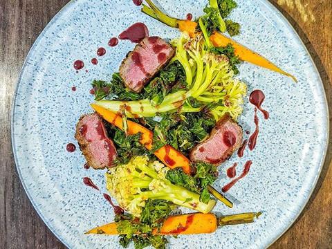 Rainbow main plate of lamb loin  Seared