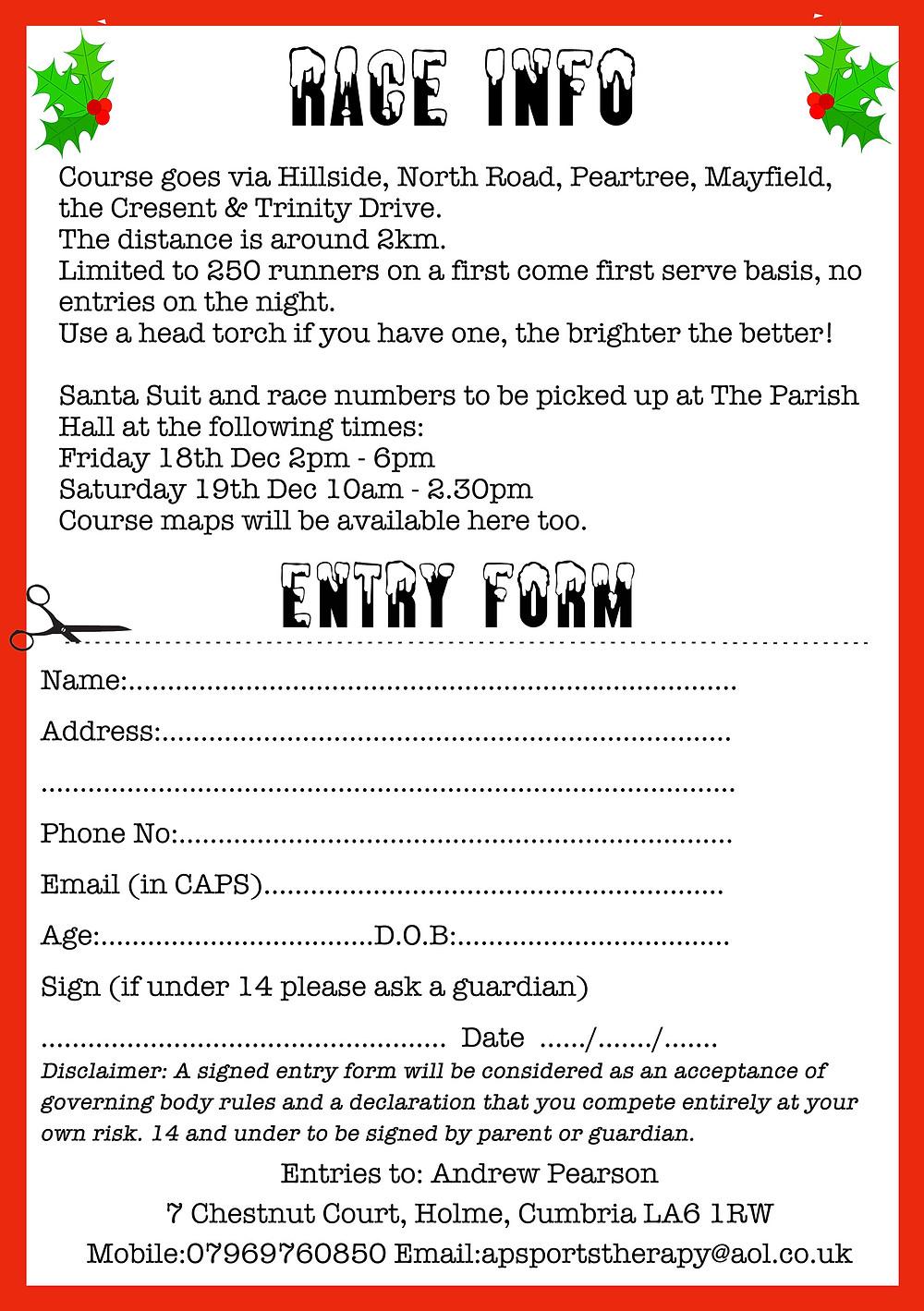 santa dash entry form