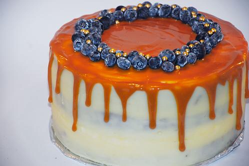 Naked caramel drip sponge-cake