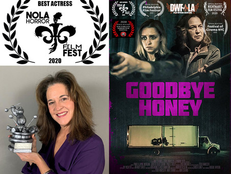 Pam kills it at the 2020 NOLA Horror Film Fest with the BEST ACTRESS AWARD !