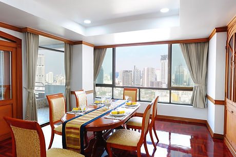 Dining room with city views