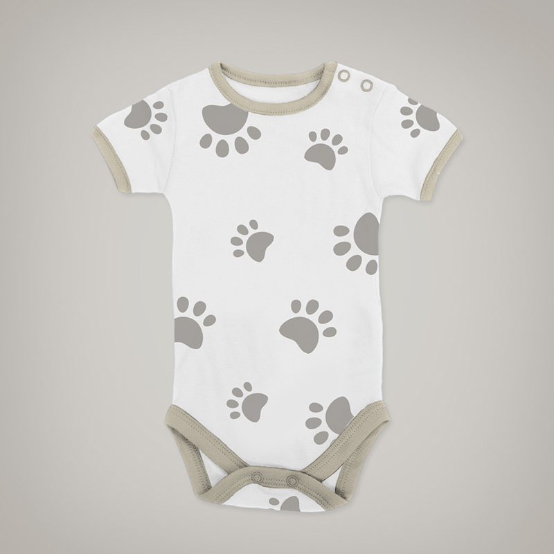 Brown Paw Print Onesie
