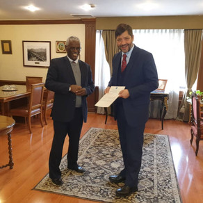Ambassador Yalew Abate presents a copy of credentials to the Ministry of Foreign Affairs of Chile