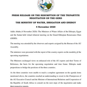 PRESS RELEASE ON THE RESUMPTION OF THE TRIPARTITE NEGOTIATION ON THE GERD