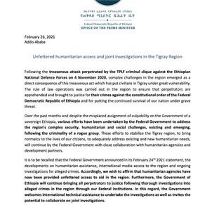 Acesso humanitário irrestrito e investigações conjuntas na região de Tigray
