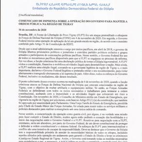 COMUNICADO DE IMPRENSA SOBRE A OPERAÇÃO DO GOVERNO PARA MANTER A ORDEM PÚBLICA NA REGIÃO DE TIGRAY