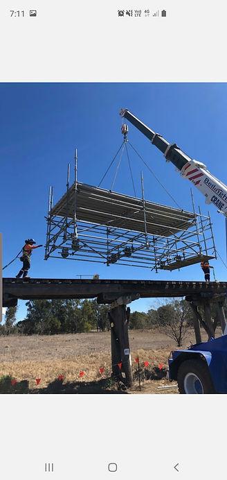 Condamine Rail Bridge Pic scaffold crane