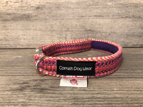 Harris Tweed Raspberry Multi Weave Dog Collar