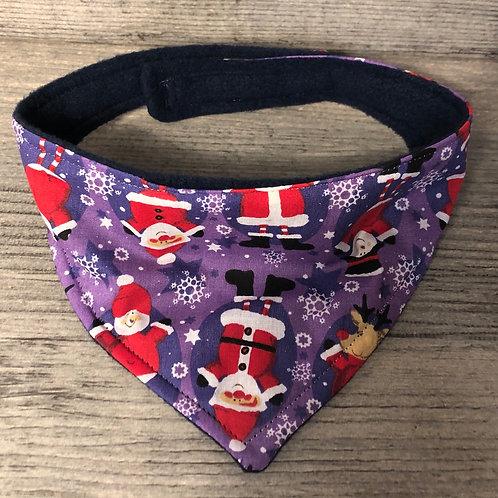 Purple Santa Christmas Dog Bandana