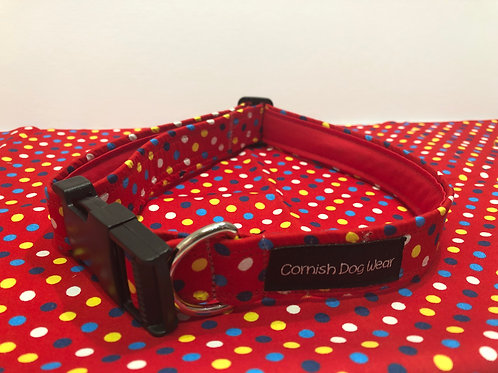 Red Multi Spot Dog Collar