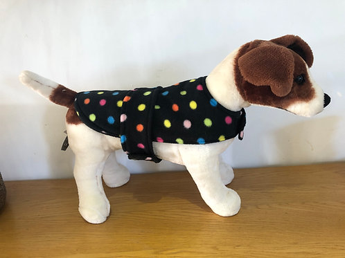 Black Multi Spot Fleece Dog Coat