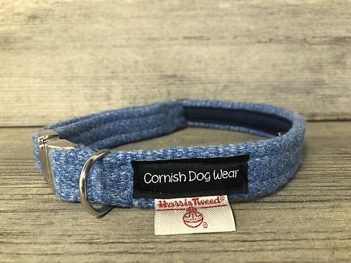 Harris Tweed Baby Blue Herringbone Dog Collar