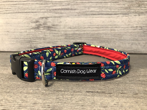 Bees and Strawberry's on Blue Dog Collar