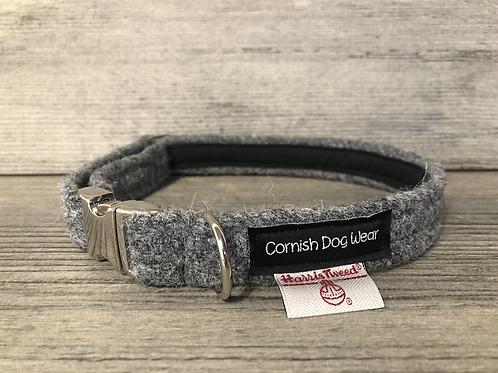 Harris Tweed Plain Grey Dog Collar